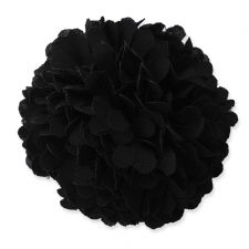 6cm Marigold PomPom BLACK Fabric Flower Applique